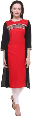 Gulmohar Jaipur Solid Women's Straight Kurta(Red, Black) at flipkart