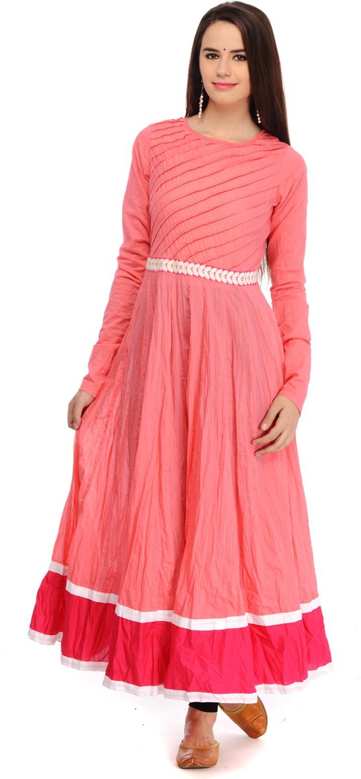 Aana Solid Womens Anarkali Kurta(Pink)