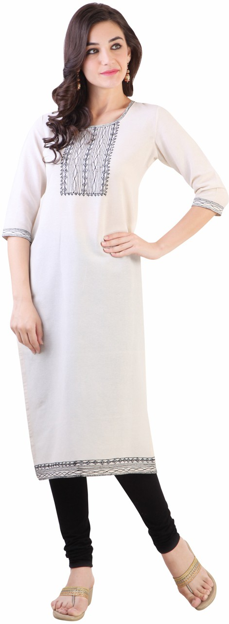 Libas Solid Womens Straight Kurta(White)