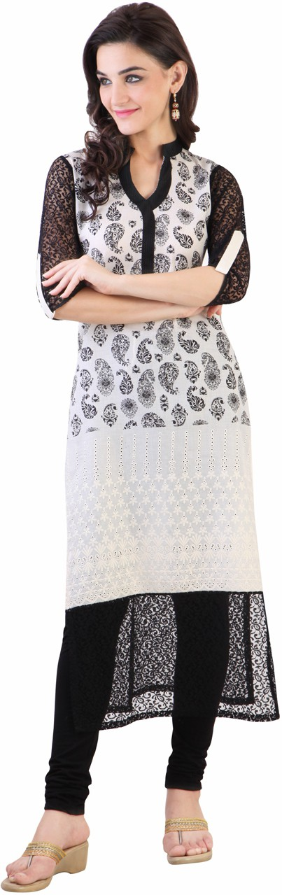 Libas Paisley Womens Straight Kurta(White, Black)