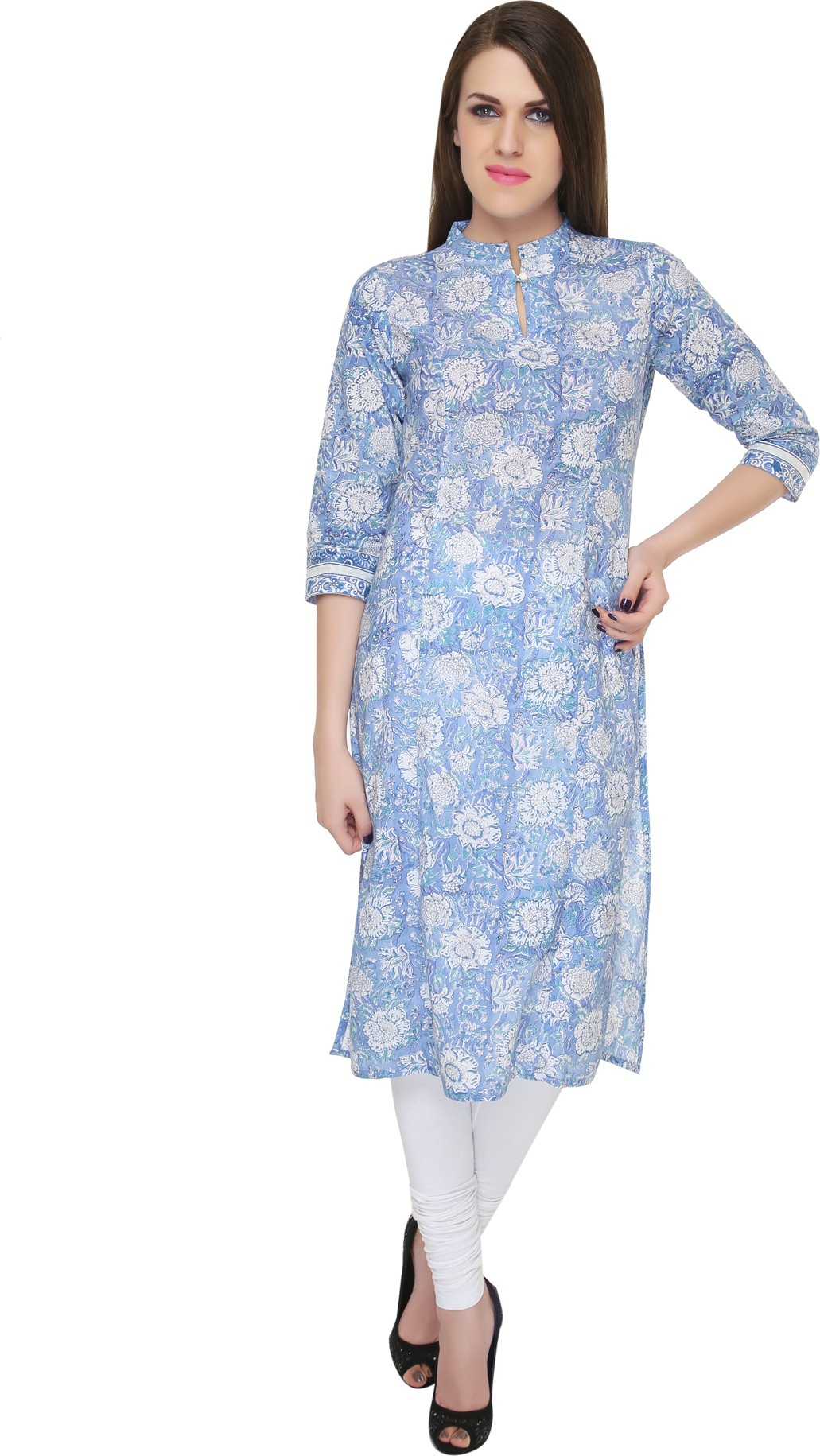 Naksh Jaipur Printed Womens Straight Kurta(Blue)