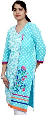 Artisan Embroidered, Floral Print, Printed Women's Straight Kurta