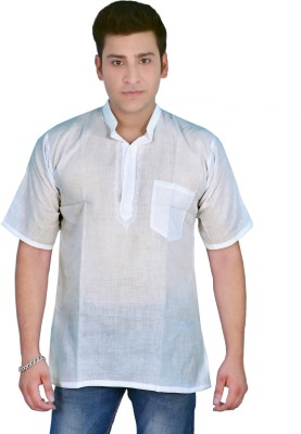 Govind Chikan Embroidered Men,s, Boy's Flap Collar Neck White T-Shirt