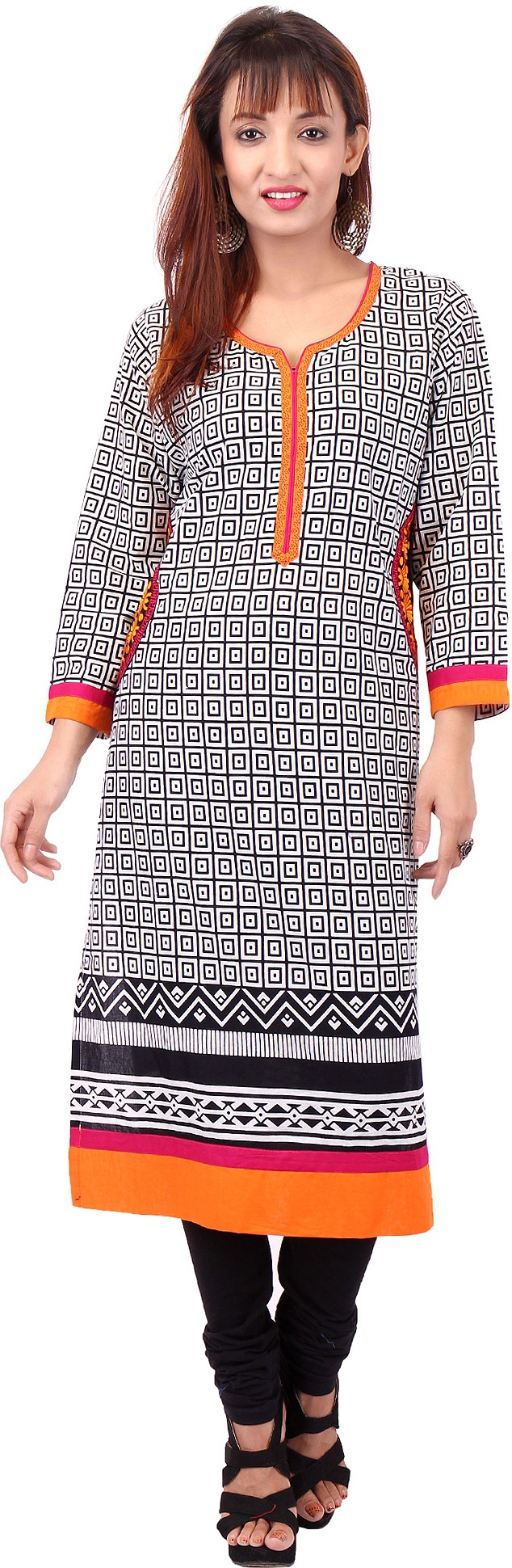 Pregan Printed Womens Straight Kurta(Black)