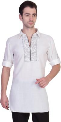 Desam Solid, Embroidered Men's Straight Kurta