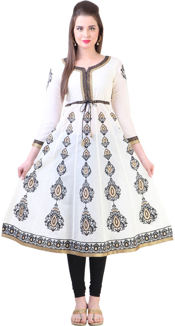 Libas Printed Womens Anarkali Kurta(White)