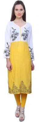 Kurtis By Menika Embroidered Women's Straight Kurta(White, Yellow)