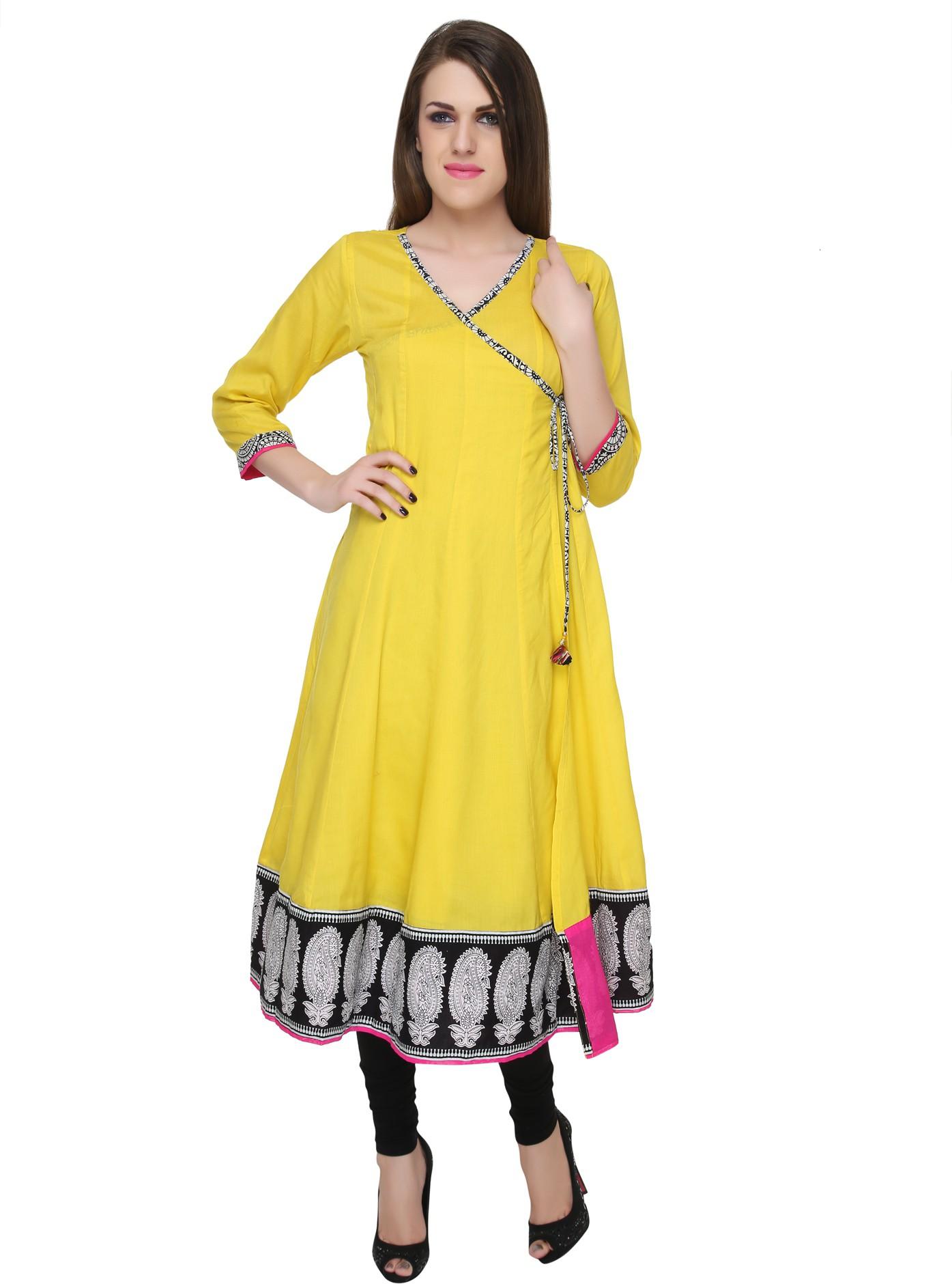Naksh Jaipur Printed Womens Straight Kurta(Yellow)