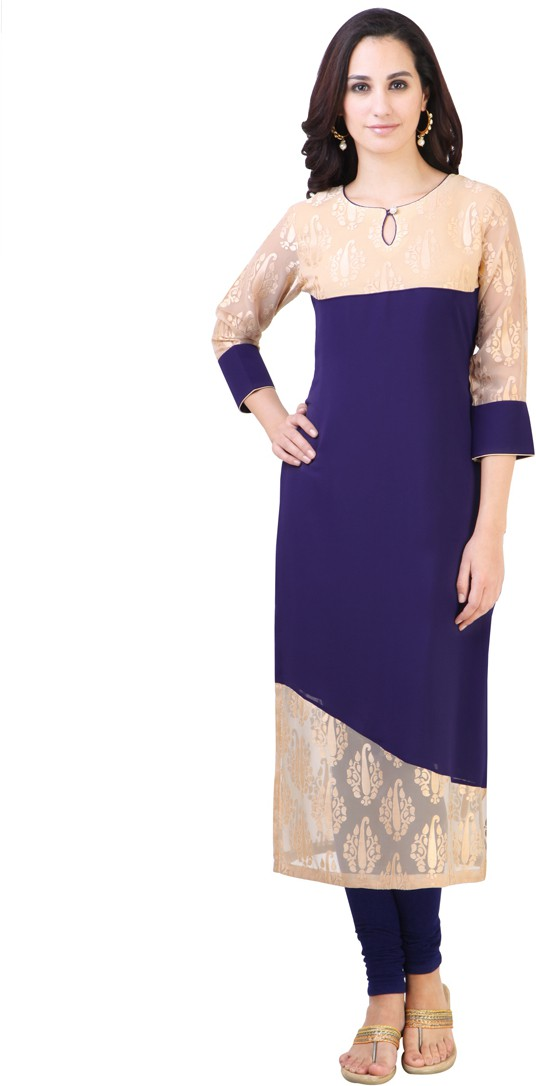 Libas Solid Womens Straight Kurta(Blue)