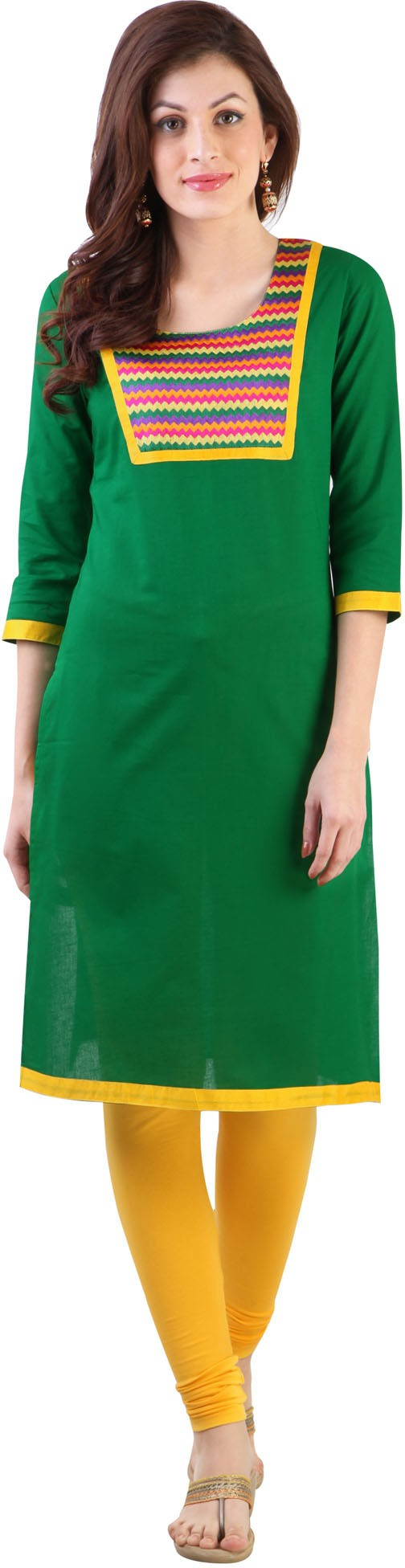 Libas Solid Womens Straight Kurta(Green)