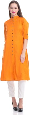 Shree Solid Women's Straight Kurta(Orange) at flipkart