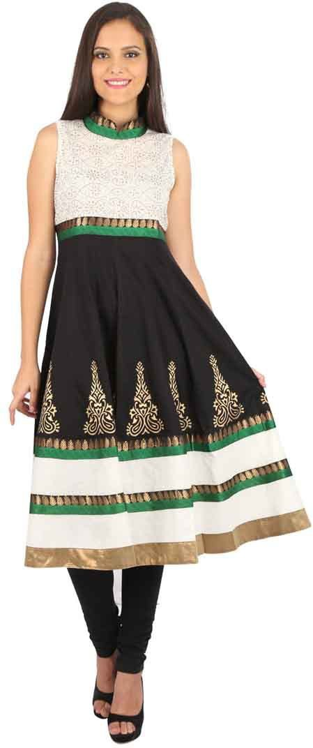 Peppertree Printed Womens Straight Kurta(Black)