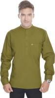 Kalrav Solid Mens Straight Kurta(Green)