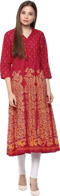Bhama Couture Printed Women's Anarkali Kurta(Maroon) at flipkart