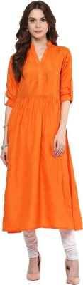 Gerua Solid Women's Anarkali Kurta(Orange) at flipkart