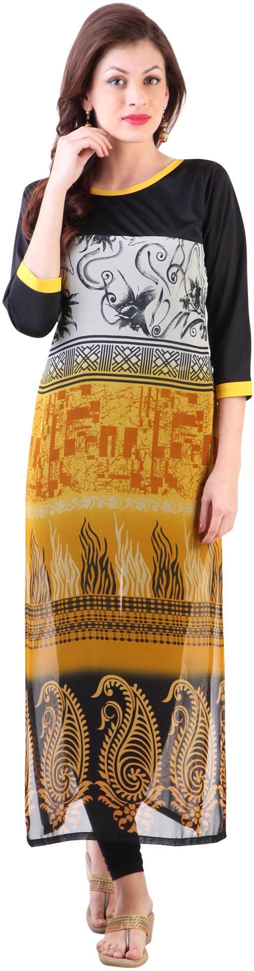 Libas Printed Womens Straight Kurta(Yellow)