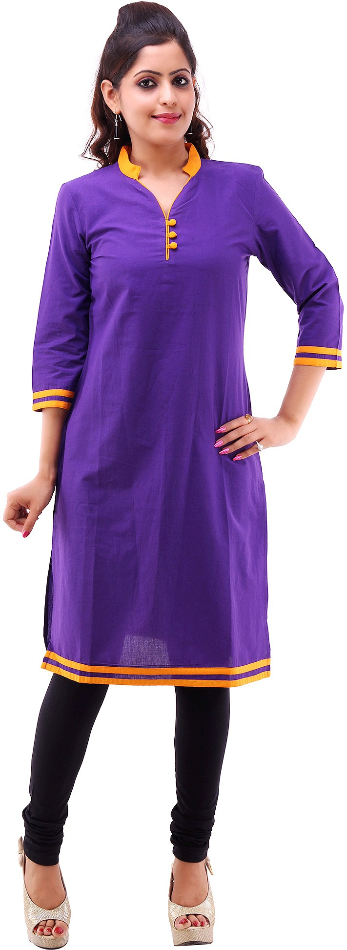 Shubh Solid Womens Straight Kurta(Purple)