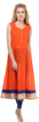 La Firangi Printed Women's Flared Kurta(Orange) at flipkart