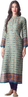 Libas Printed Women's Straight Kurta(Green) at flipkart
