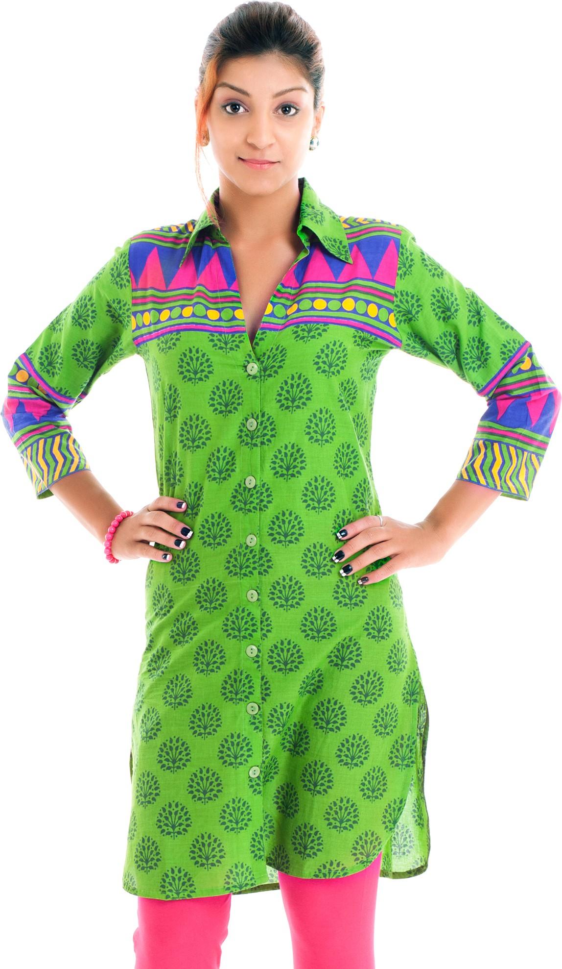 Naksh Jaipur Printed Womens Straight Kurta(Green)