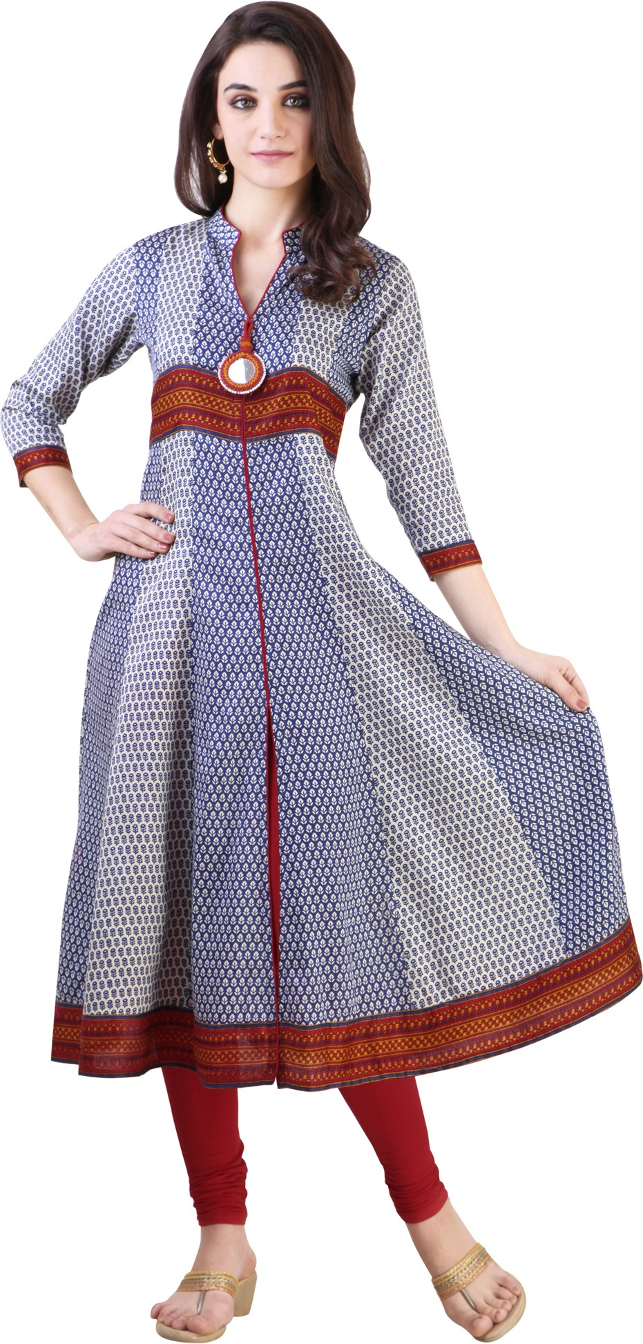 Libas Printed Womens Anarkali Kurta(Blue)