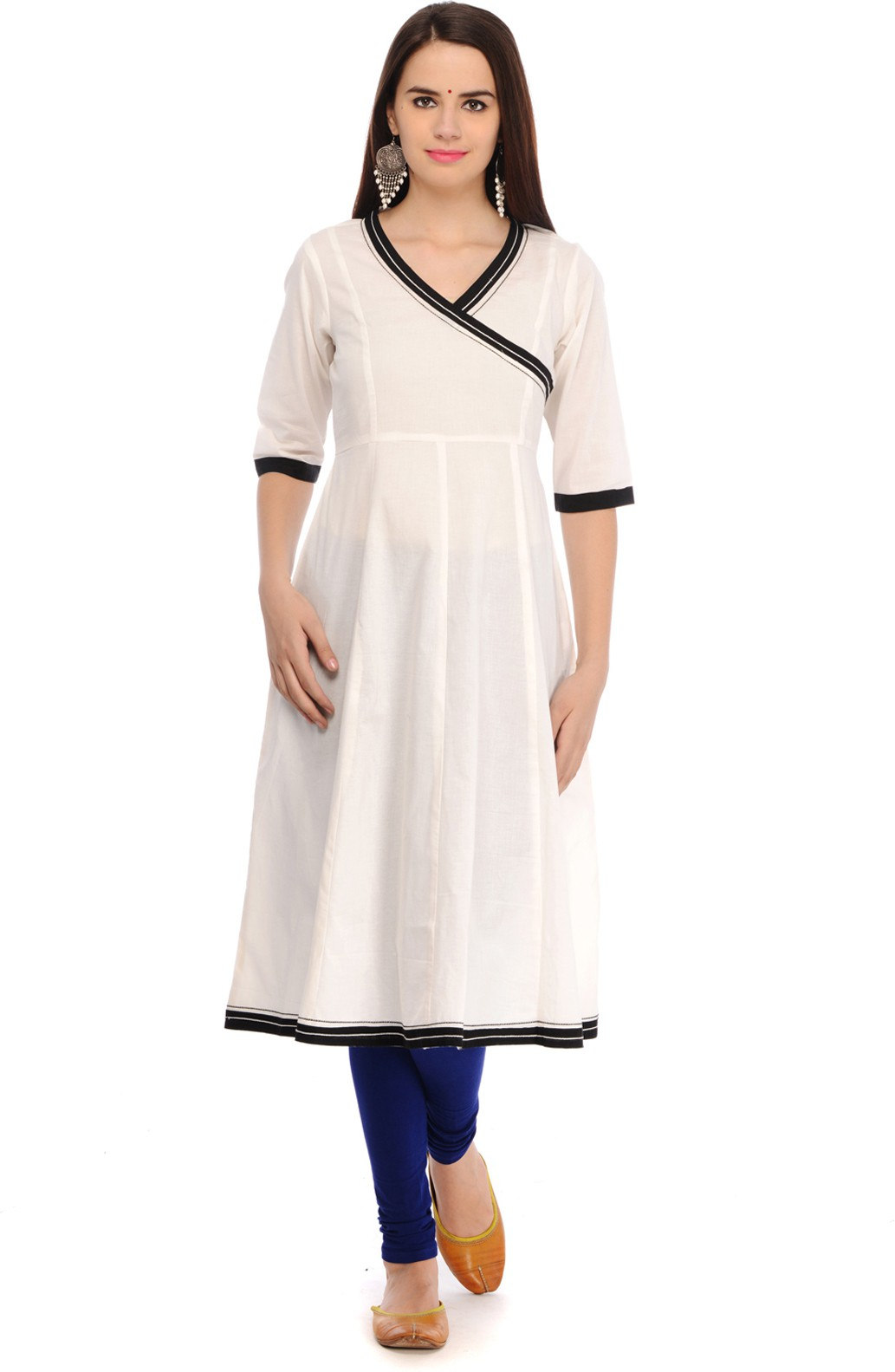 Aana Solid Womens Anarkali Kurta(White)