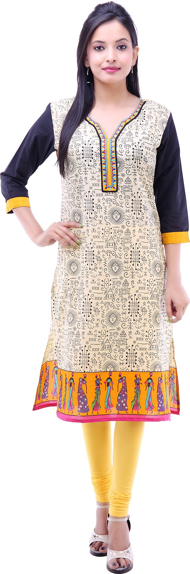 Kyaara Printed Womens Straight Kurta(Black)