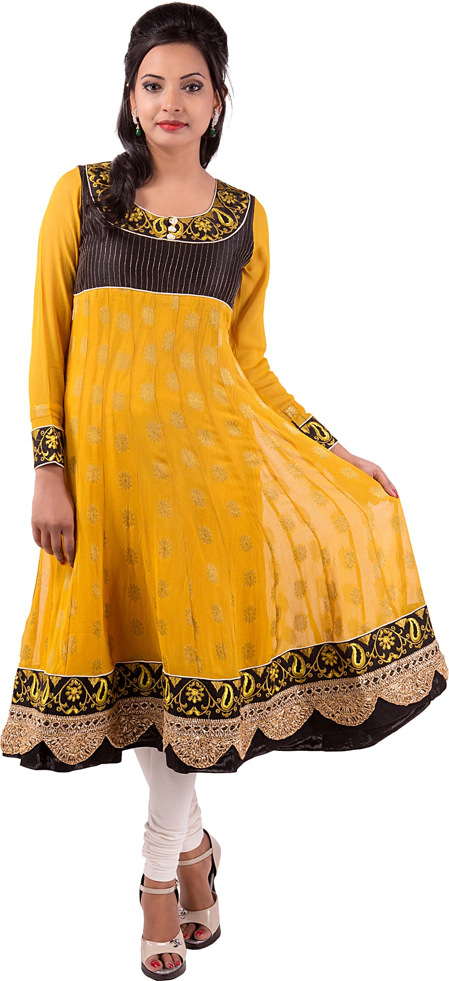 Ishwar Womens Wear Solid Womens Straight Kurta(Yellow)