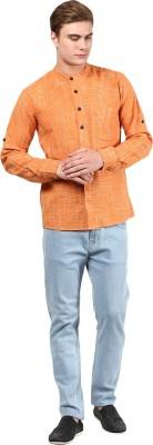 Abhiyuthan Solid Mens Straight Kurta(Orange)