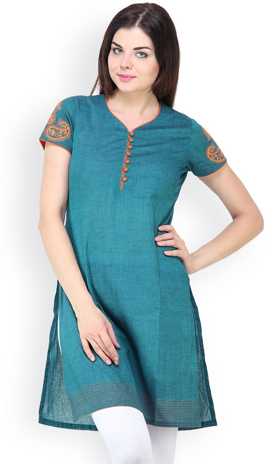 Vedanta Solid Womens Straight Kurta(Green)