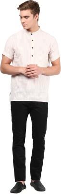 Abhiyuthan Striped Mens Straight Kurta(Beige)