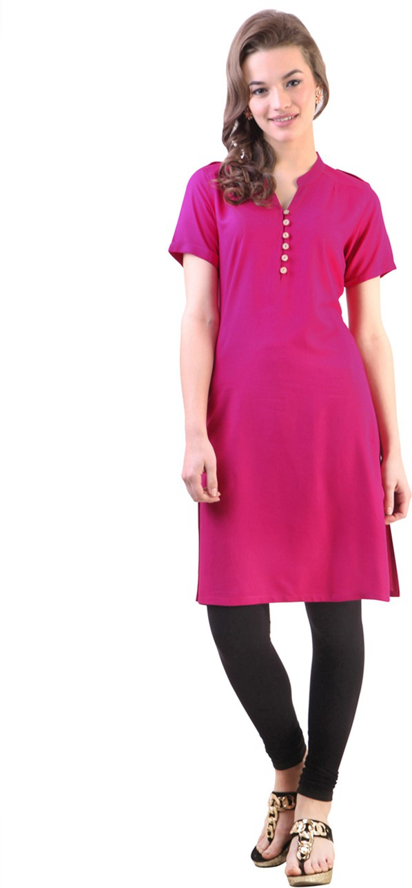 Libas Solid Women's Straight Kurta(Pink)