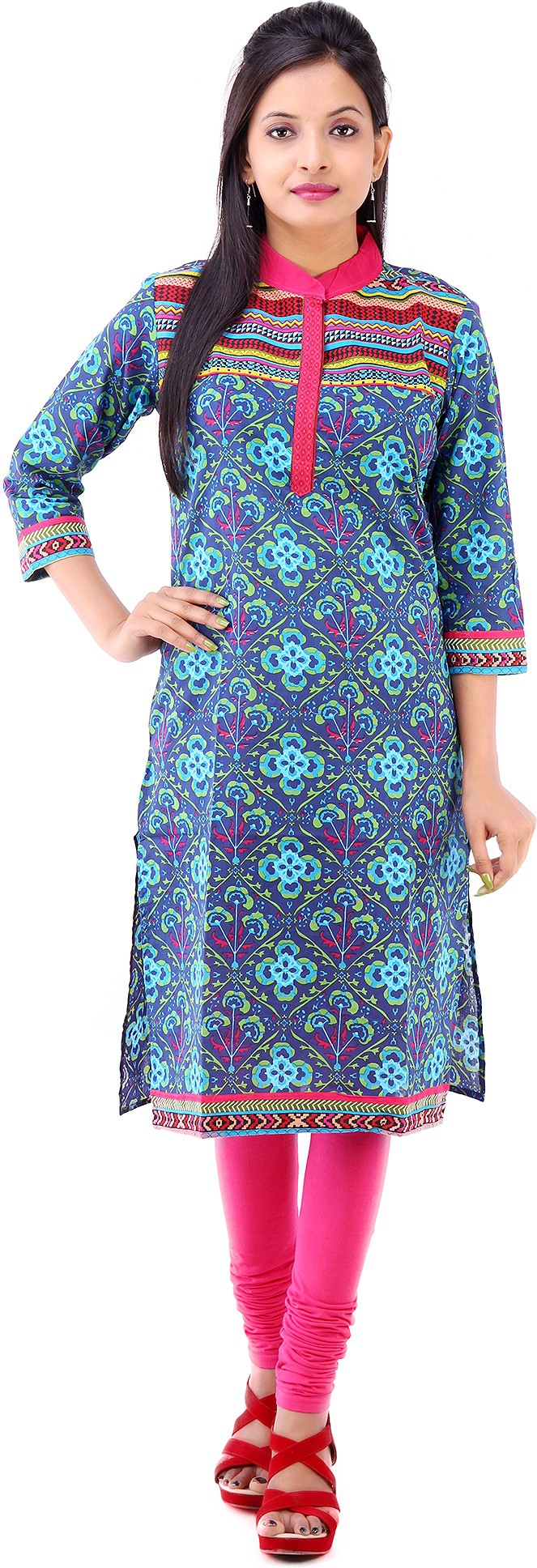 Kyaara Printed Womens Straight Kurta(Blue)