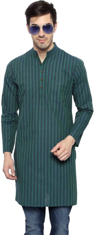 Akkriti by Pantaloons Striped Men's Straight Kurta(Green)