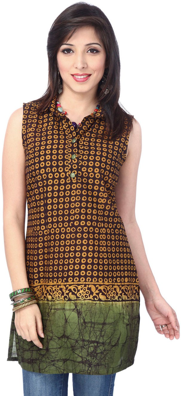 Enah Printed Womens A-line Kurta(Yellow, Brown)