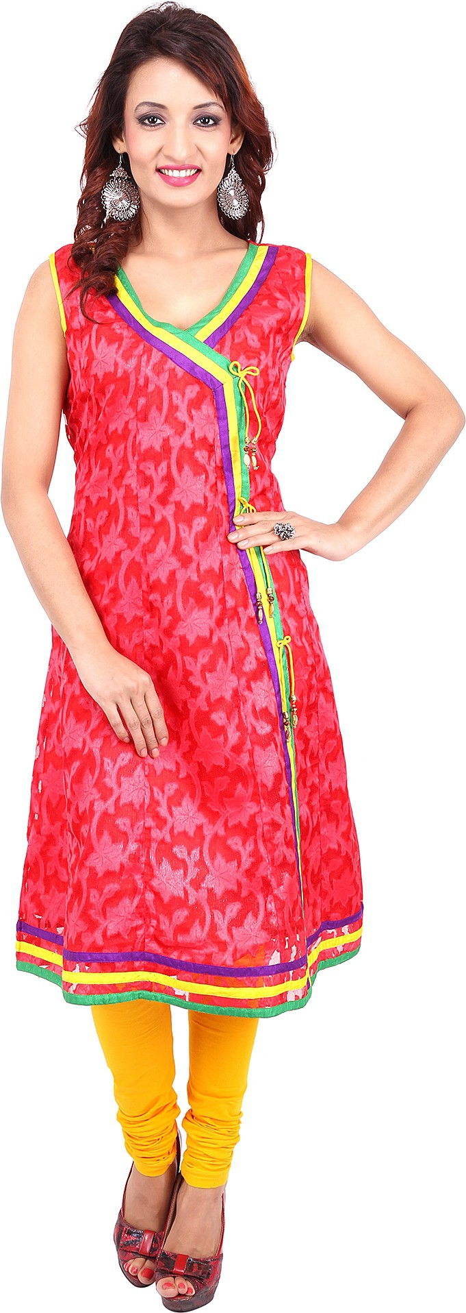 Urban Flairs Floral Print Womens A-line Kurta(Red)