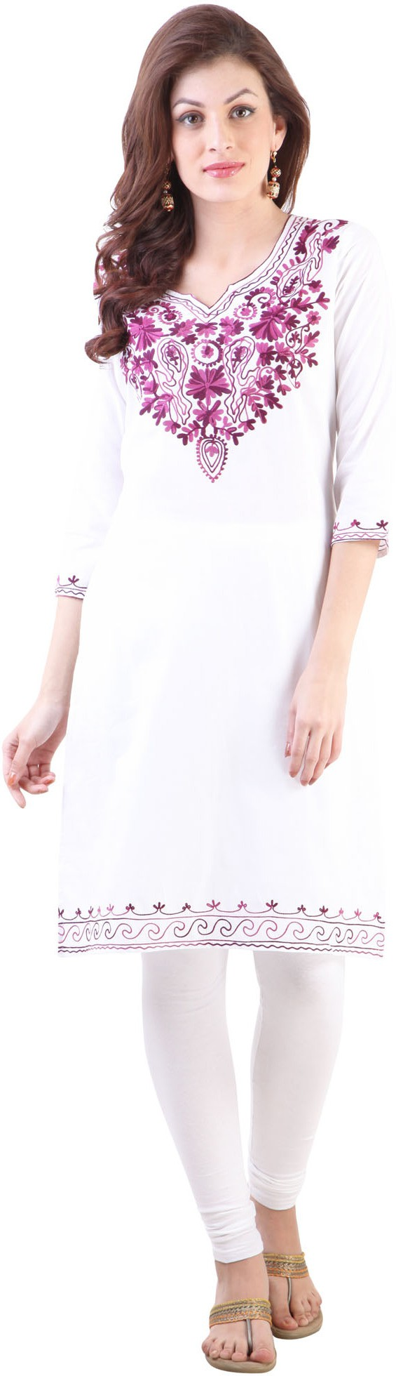 Libas Embroidered Womens Straight Kurta(White, Purple)