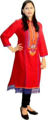 Shonaa Solid, Embroidered Women's Straight Kurta