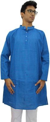 Rasi Silks Solid Mens Straight Kurta(Blue)