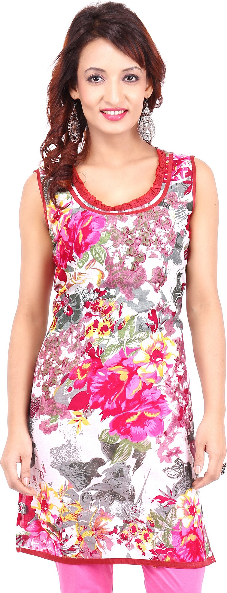 Urban Flairs Floral Print Womens Straight Kurta(Pink)