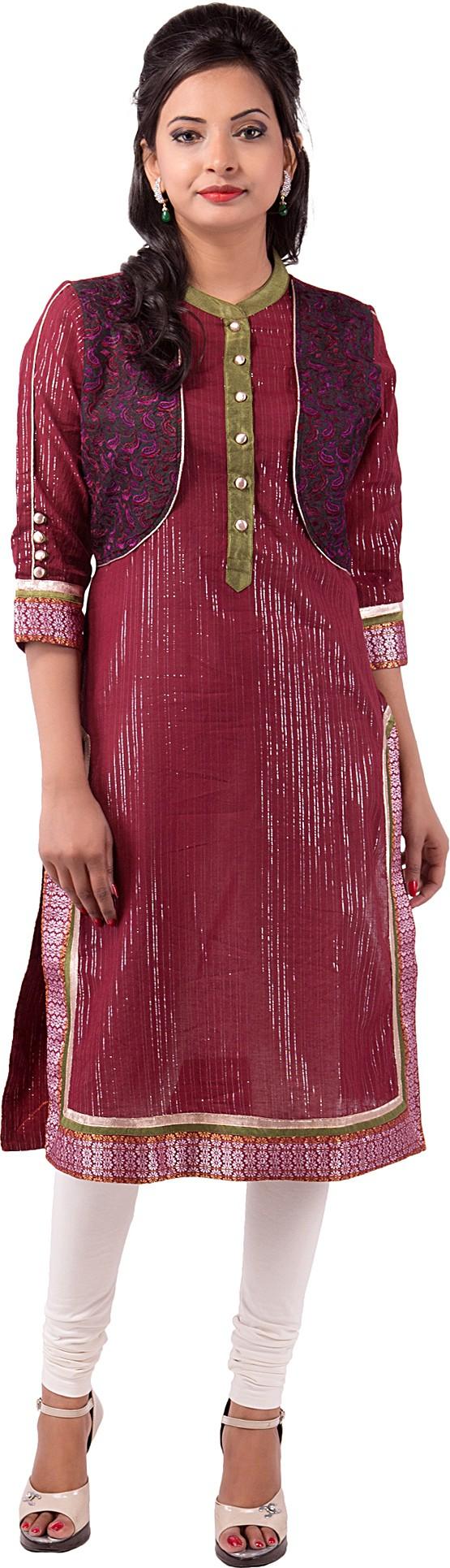 Ishwar Womens Wear Solid Womens Straight Kurta(Brown)