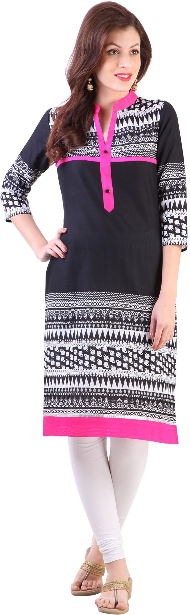 Libas Printed Womens Straight Kurta(Black)
