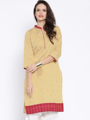 Anouk Solid Women's Straight Kurta(Beige) at flipkart