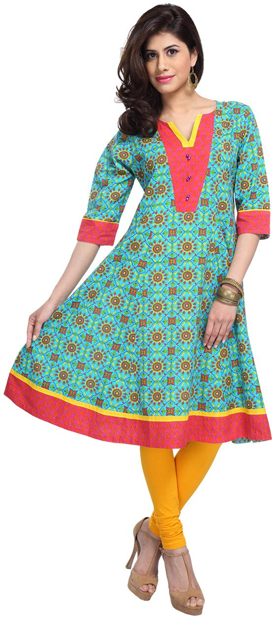 Enah Printed Womens Anarkali Kurta(Blue)