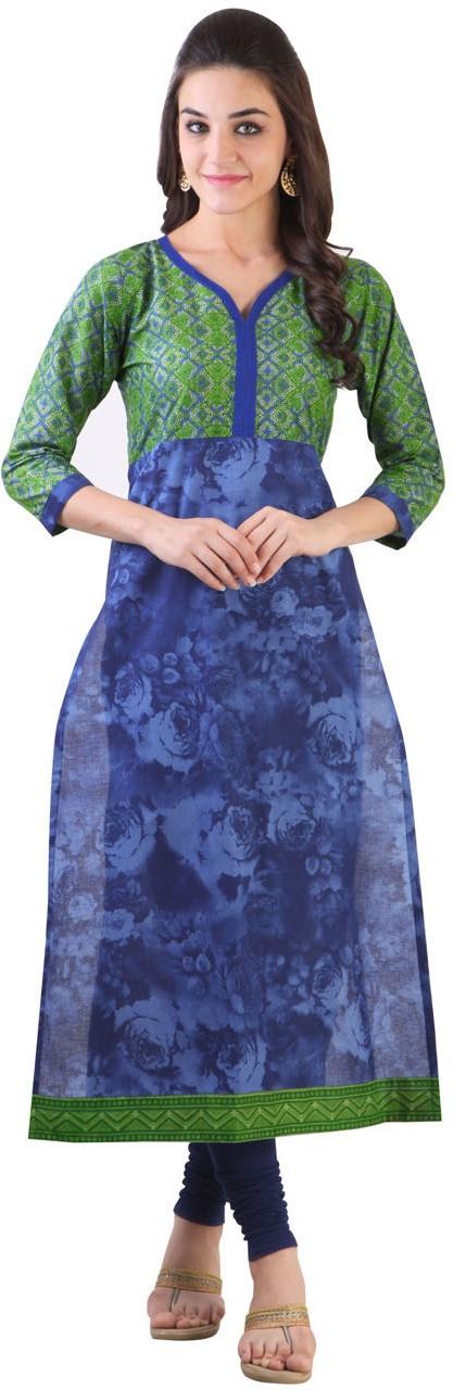 Libas Floral Print Womens Straight Kurta(Blue)