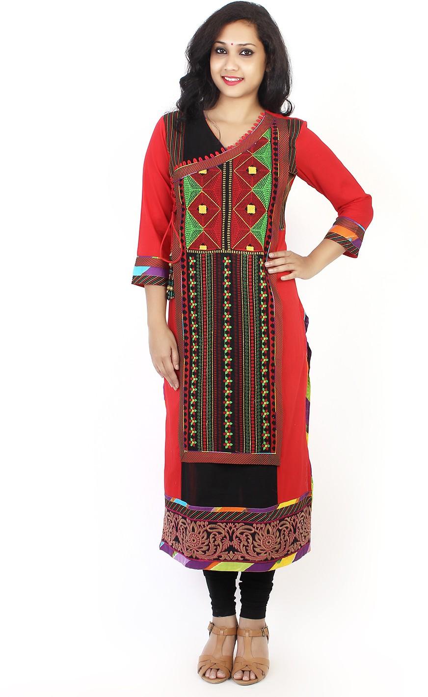 Taaga Printed Womens Straight Kurta(Red)