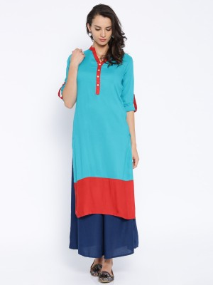Anouk Woven Women's Straight Kurta(Blue) at flipkart