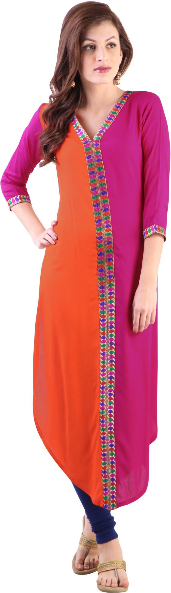 Libas Solid Womens A-line Kurta(Orange)
