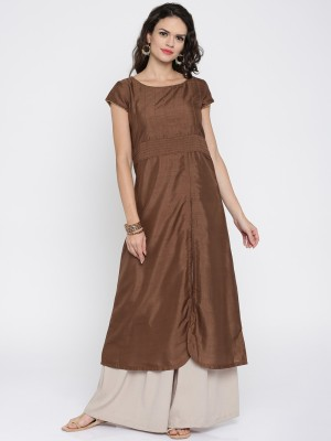 Anouk Solid Women's A-line Kurta(Brown) at flipkart