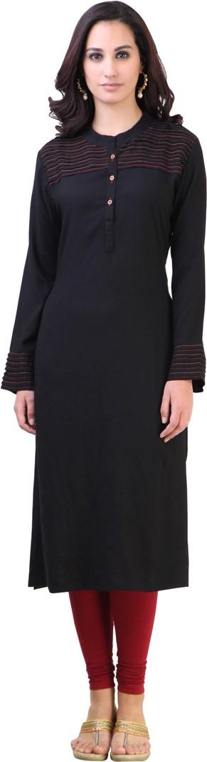 Libas Self Design Womens Straight Kurta(Black)